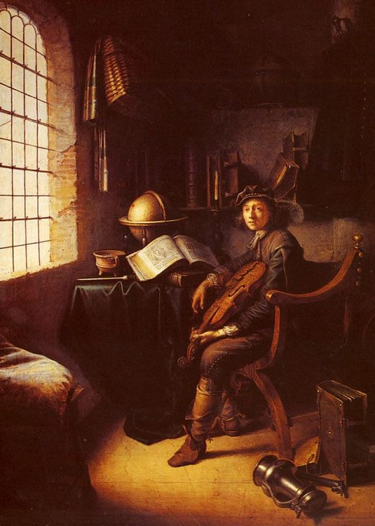 An Interior with a Young Violinist 1637 :: Gerrit Dou  - Interiors in art and painting фото