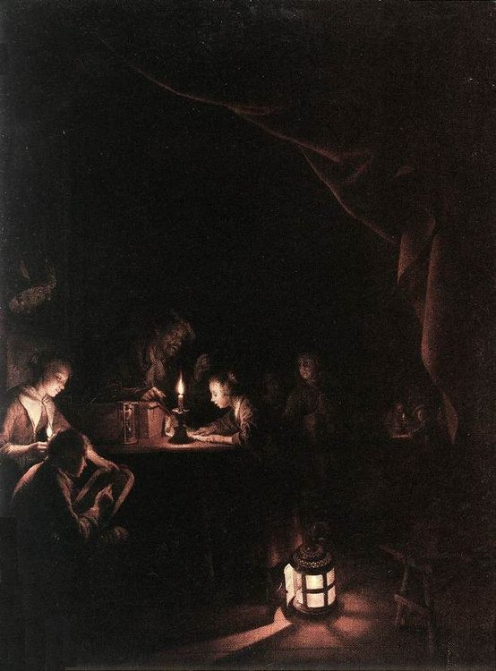 The Evening School :: Gerrit Dou  - Interiors in art and painting фото