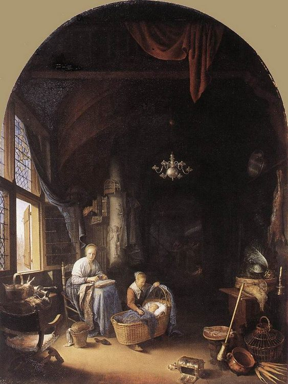Young Mother :: Gerrit Dou - Interiors in art and painting фото