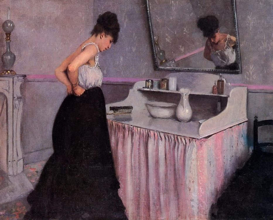 Woman at a Dressing Table :: Gustave Caillebotte - Interiors in art and painting фото
