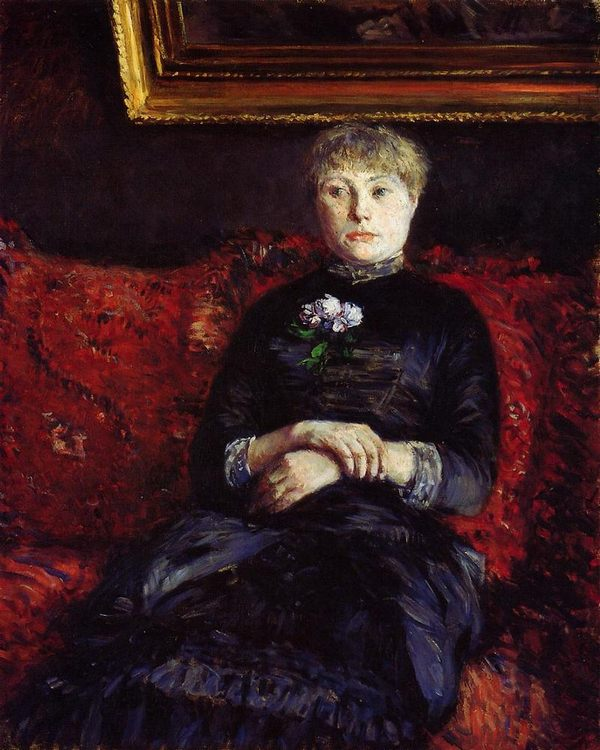 Woman Sitting on a Red-Flowered Sofa :: Gustave Caillebotte - Interiors in art and painting фото