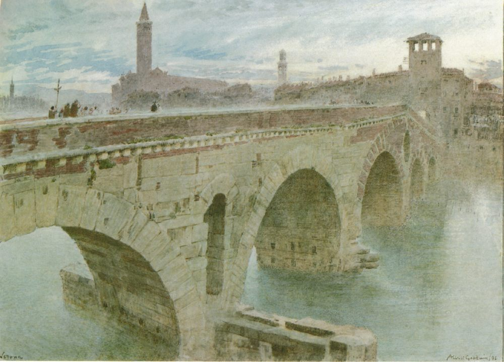 Ponte Pietra, Verona :: Albert Goodwin - Architecture фото