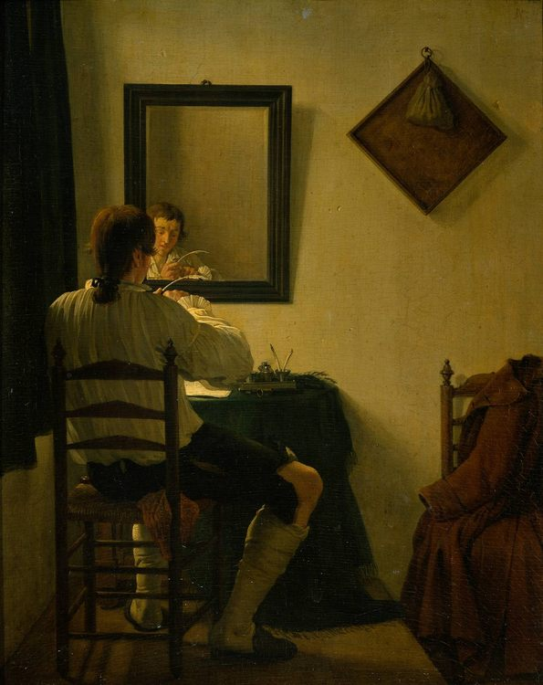 A Writer Trimming his Pen :: Jan, II Ekels - Interiors in art and painting фото