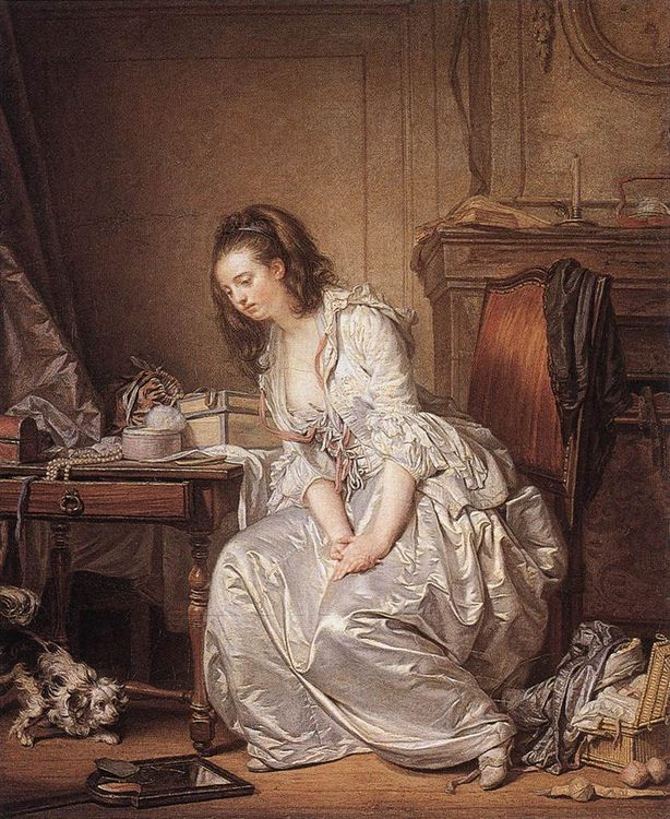 The Broken Mirror :: Jean Baptiste Greuze - Interiors in art and painting ôîòî