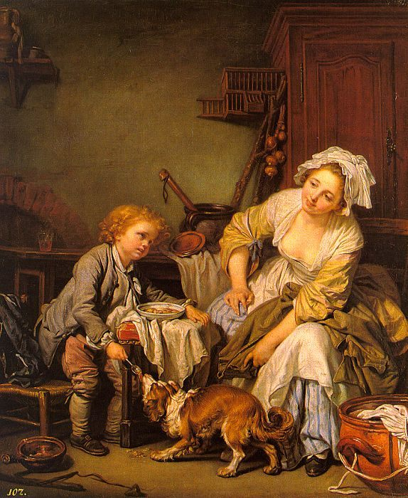 The Spoiled Child :: Jean Baptiste Greuze - Interiors in art and painting фото