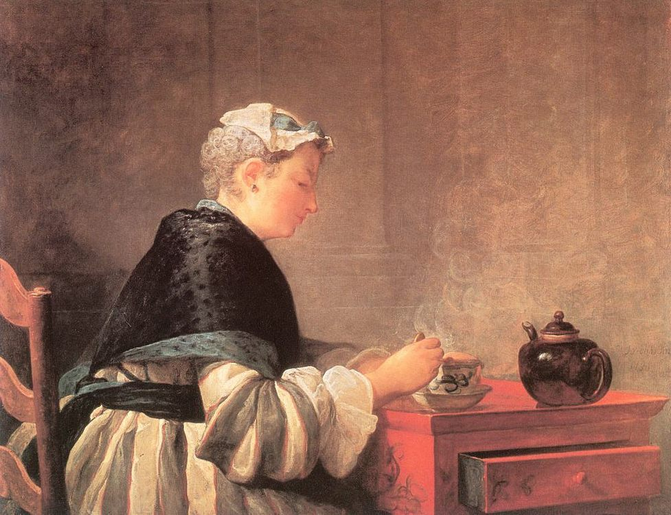 Lady Taking Tea :: Jean-Baptiste-Simeon Chardin - Interiors in art and painting фото