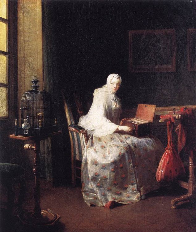 The Canary :: Jean-Baptiste-Simeon Chardin - Interiors in art and painting фото
