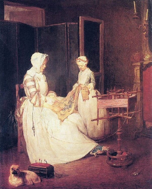 The Diligent Mother :: Jean-Baptiste-Simeon Chardin - Interiors in art and painting фото
