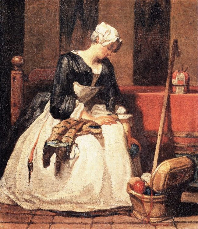 The Embroiderer :: Jean-Baptiste-Simeon Chardin - Interiors in art and painting фото