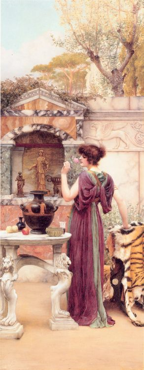 At the Garden Shrine, Pompeii :: John William Godward - Antique world scenes фото
