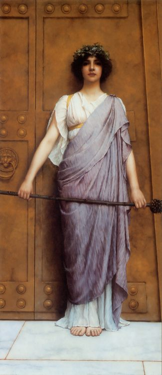 At the Gate of the Temple :: John William Godward - Antique world scenes ôîòî