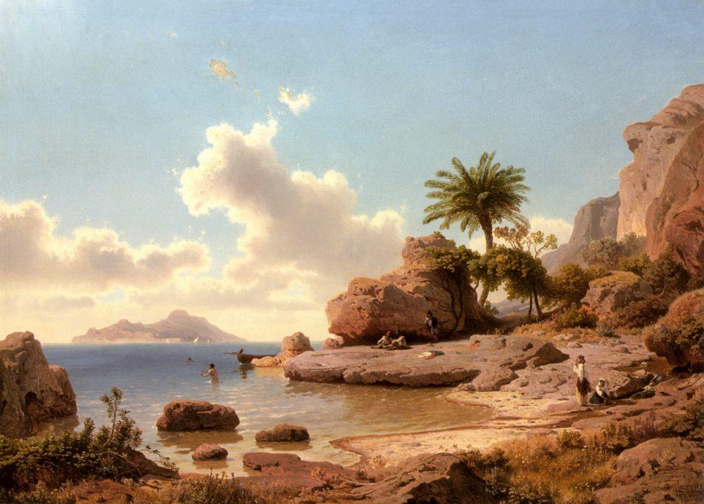 Bathing at Capri - Coastal landscapes фото