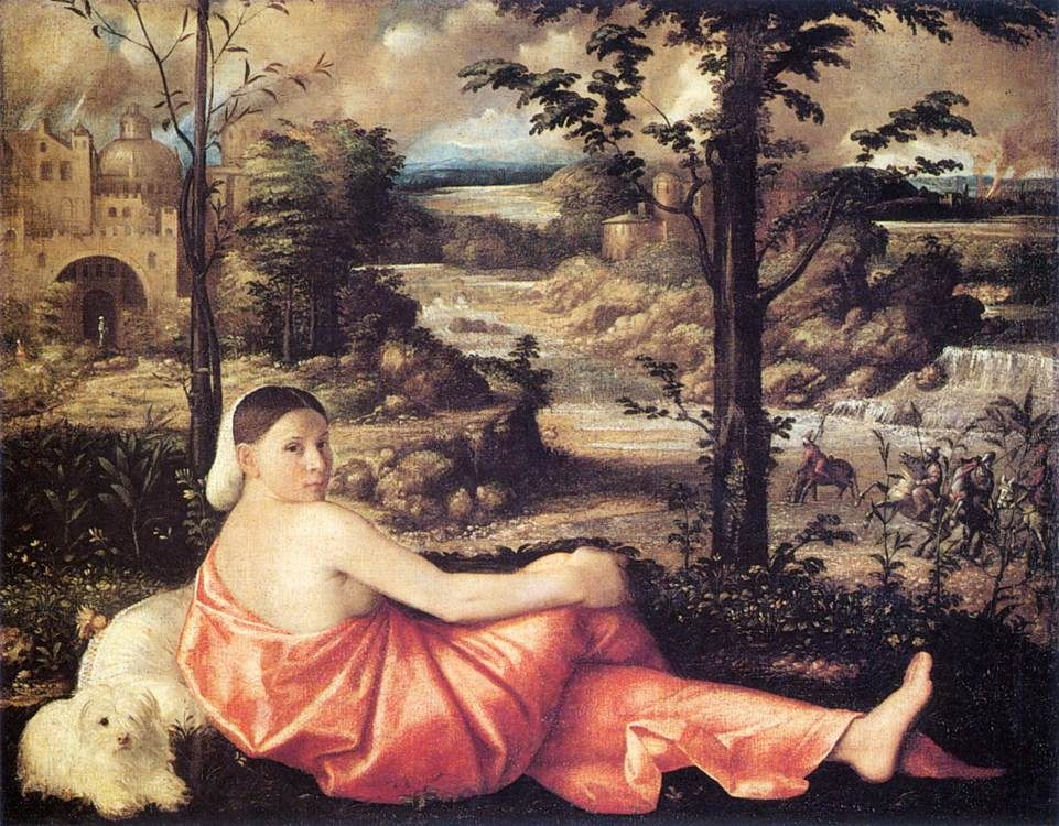 Reclining Woman in a Landscape :: Giovanni Cariani - 2 women portraits 16th century hall фото