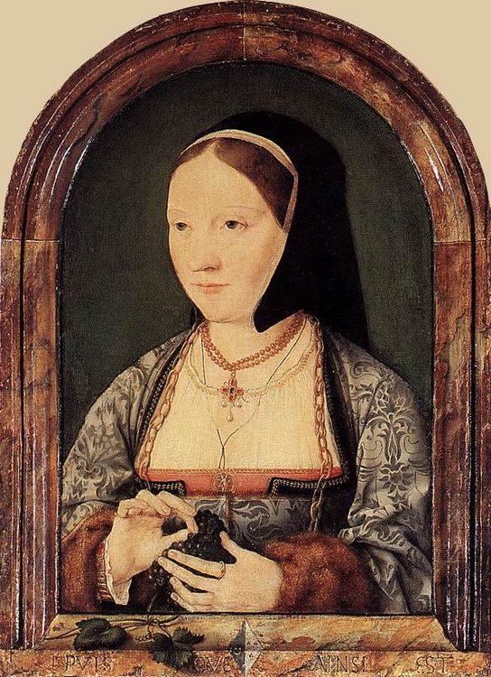 Portrait of Agniete van den Rijne :: Joos van Cleve - 2 women portraits 16th century hall ôîòî