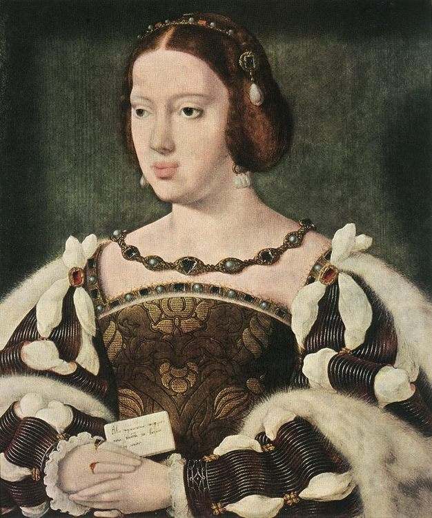 Portrait of Eleonora, Queen of France :: Joos van Cleve  - 2 women portraits 16th century hall фото
