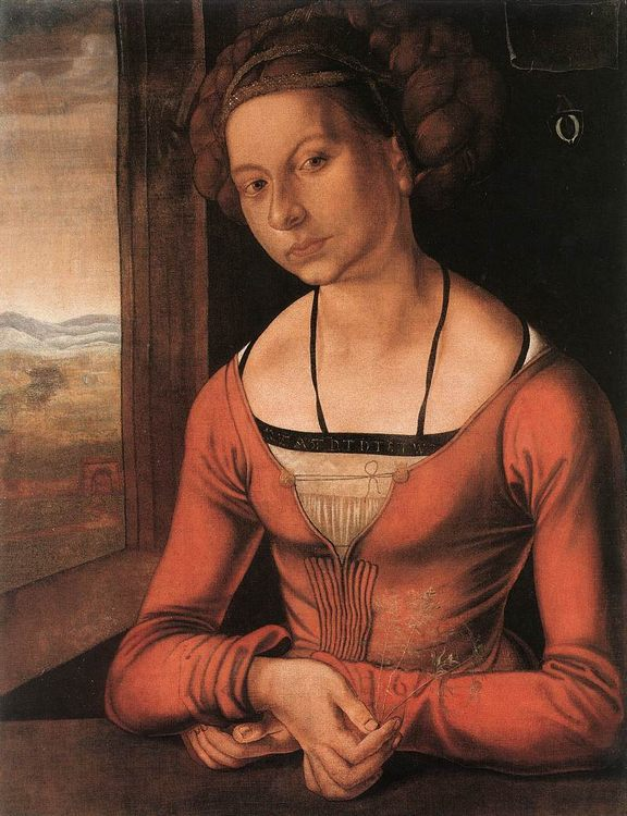 Portrait of the young woman with Her Hair Done Up :: Albrecht Durer - 1 women portraits 15th century hall фото