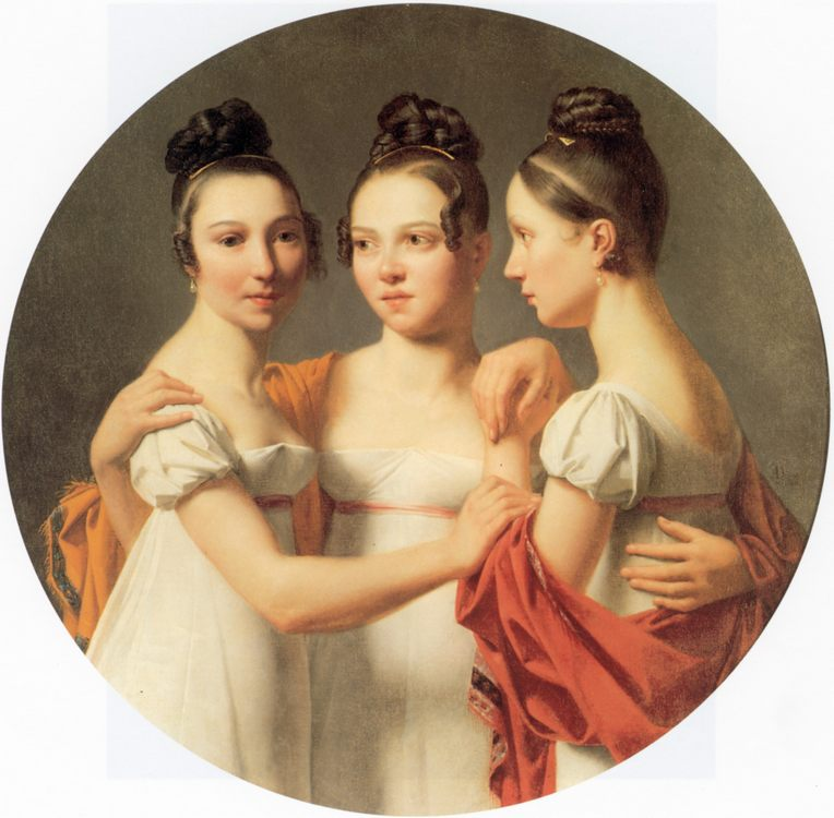 Three graces :: Alexandre Jean Dubios Drahonet - 5 women portraits ( the beginning of 19 centuries ) фото