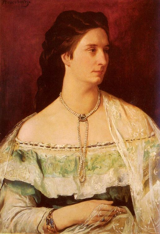 Portrait Of A Lady Wearing A Pearl Necklace :: Anselm Friedrich Feuerbach - 6 woman's portraits hall ( The middle of 19 centuries ) in art and painting фото