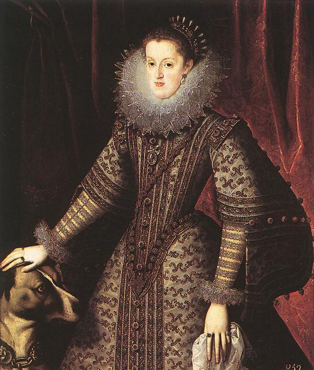 Queen Margarita of Austria :: Bartolome Gonzalez  - 3 women portraits 17th century hall фото