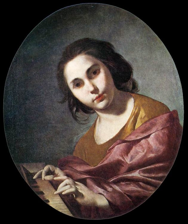 Clavichord Player :: Bernardo Cavallino  - 3 women portraits 17th century hall фото