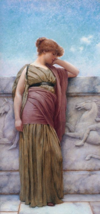 Leaning on the Balcony :: John William Godward - Antique world scenes фото