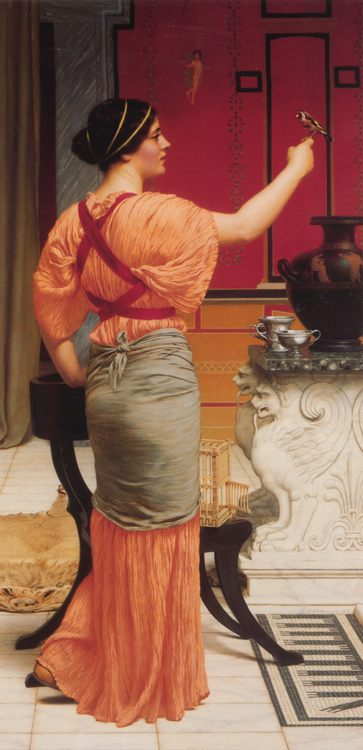 Lesbia with her Sparrow :: John William Godward - Antique world scenes фото