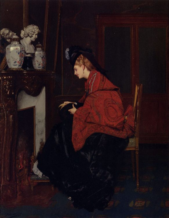 By The Fireplace :: Jules Adolphe Goupil - Interiors in art and painting ôîòî