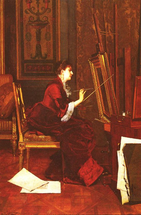 L'Artiste Dans L'Atelier :: Jules Adolphe Goupil - Interiors in art and painting фото