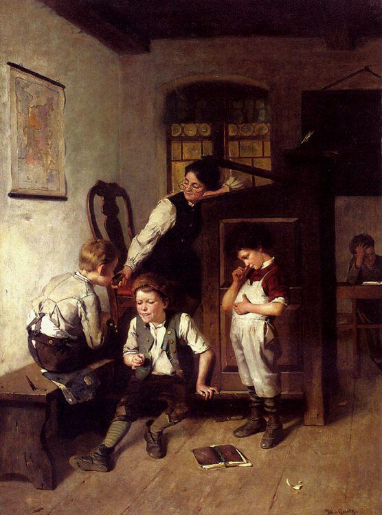 Mischief In The Classroom :: Julius Geertz - Interiors in art and painting фото