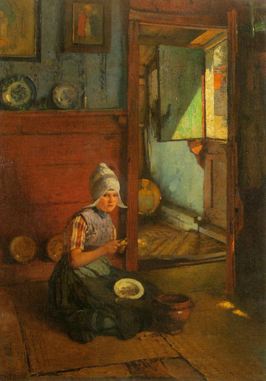 Girl Peeling Potatoes, Volendam :: Rudolf Gudden - Interiors in art and painting фото