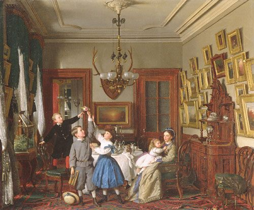 Seymour Joseph Guy (1824-1910) The Contest for the Bouquet- The Family of Robert Gordon in their New York Dining-Room Oil on can - Interiors in art and painting фото