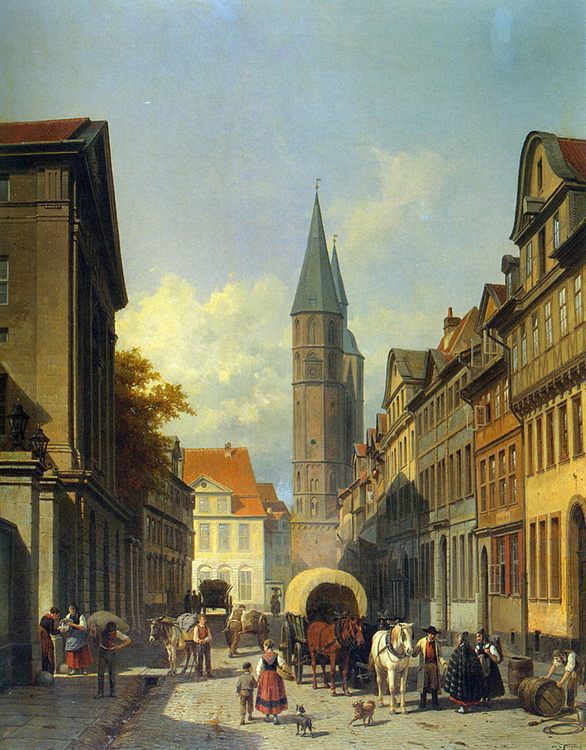 A Busy Street in a German Town :: Jacques Carabain - Architecture ôîòî