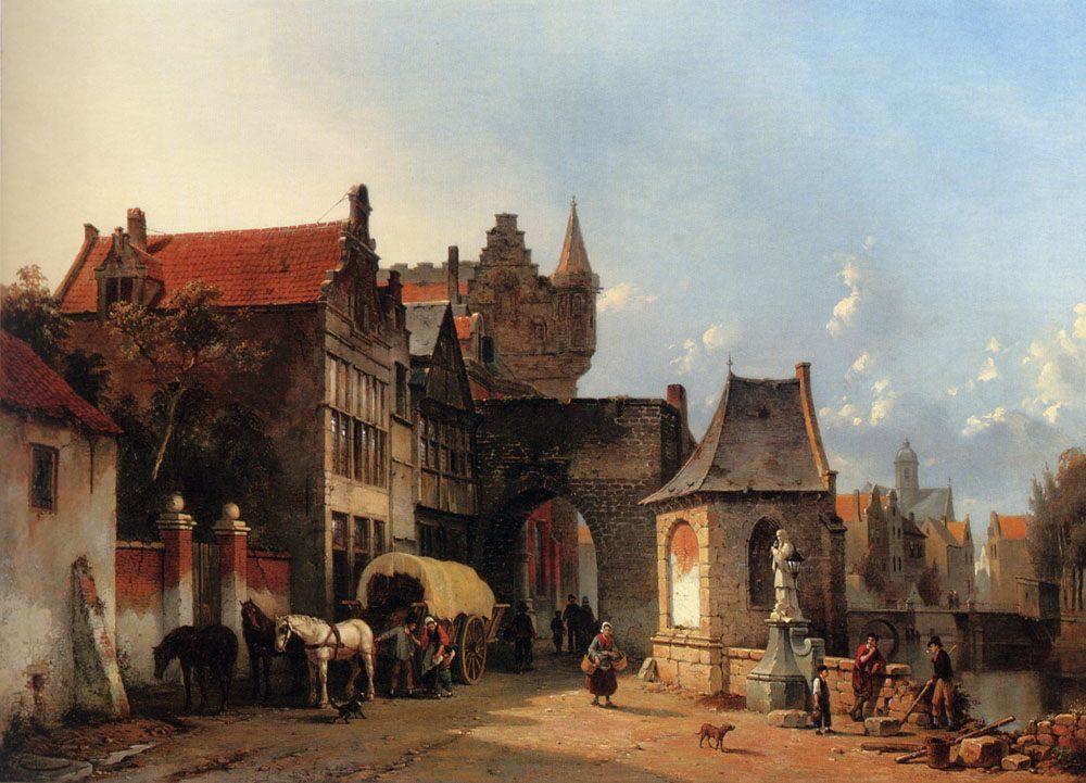 Figures By An Old City Gate :: Jacques Carabain - Architecture ôîòî