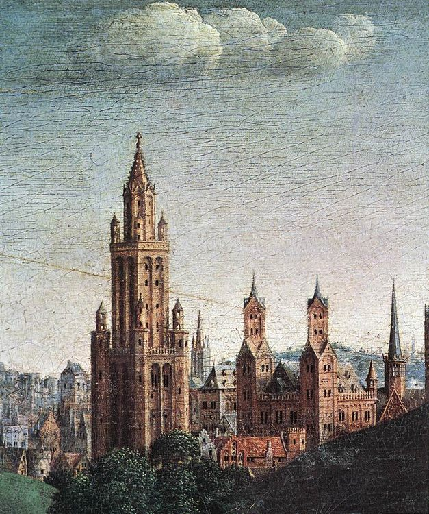 The Ghent Altarpiece- Adoration of the Lamb :: Jan van Eyck - Architecture фото