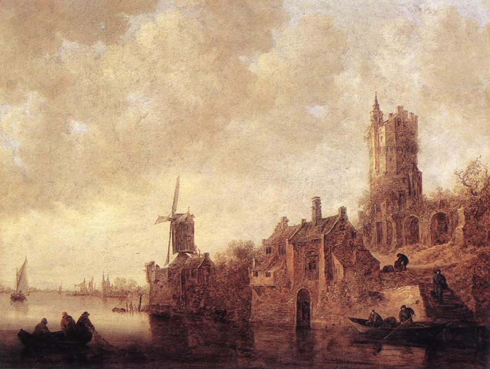 River Landscape with a Windmill and a Ruined Castle :: Jan van Goyen - Architecture фото