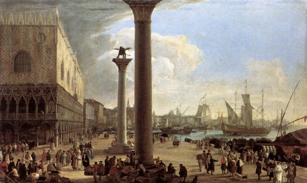 The Wharf, Looking toward the Doge s Palace :: Luca Carlevaris  - Architecture ôîòî