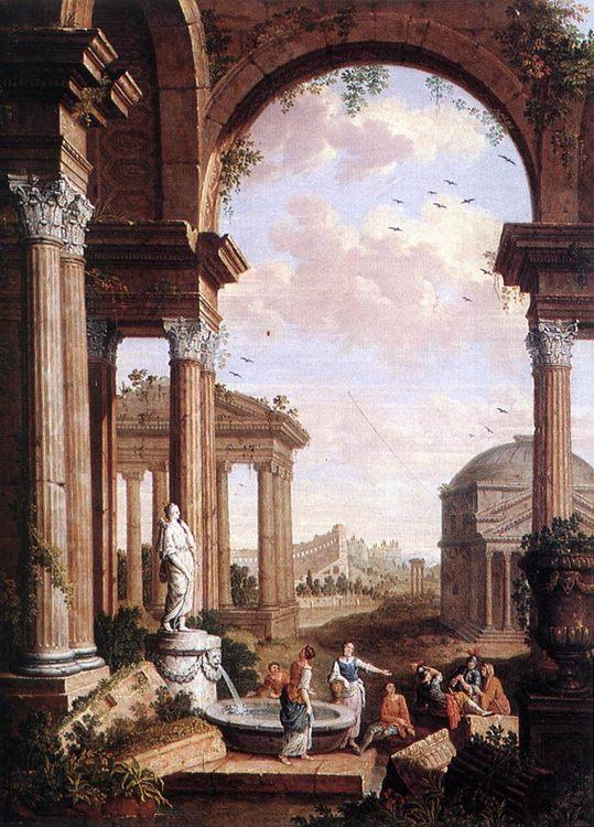 Landscape with Roman Ruins :: Paul de Cock - Ruins ôîòî