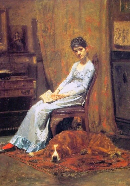 The Artist's Wife and his Setter Dog :: Thomas Eakins - Interiors in art and painting фото