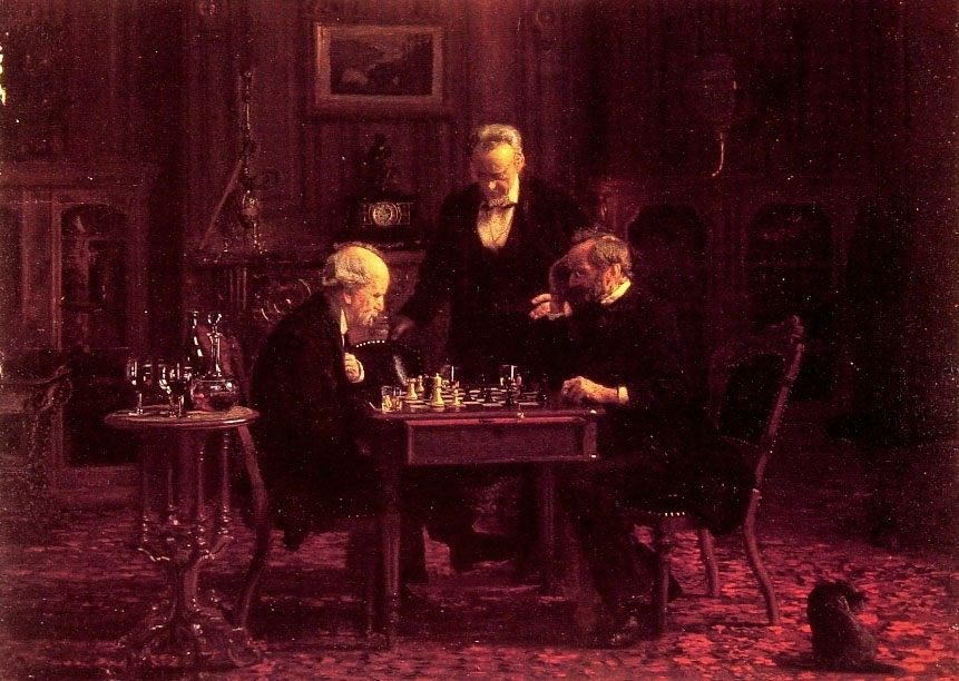 The Chess Players :: Thomas Eakins - Interiors in art and painting фото