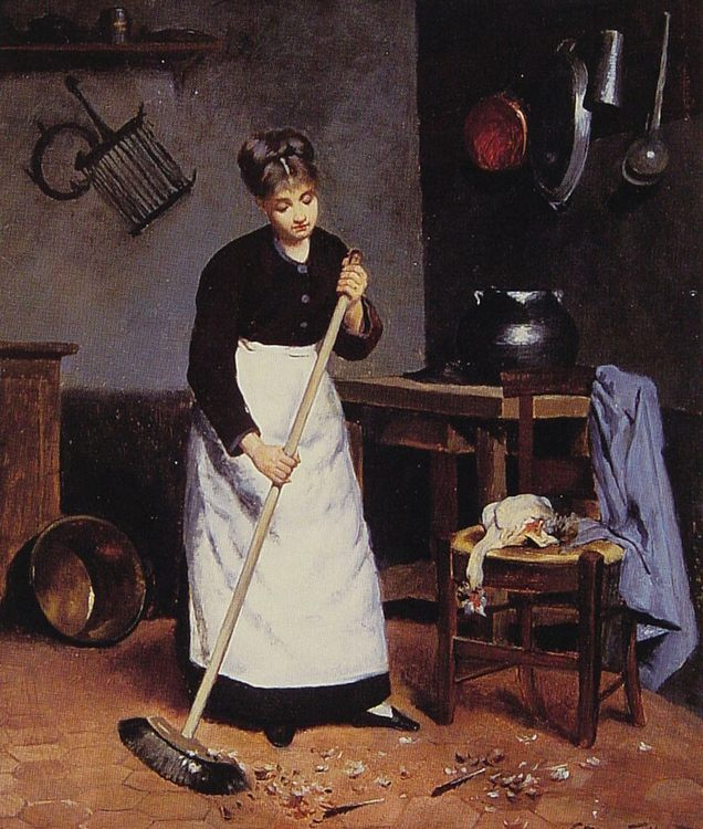 Sweeping the Feathers :: Victor Gabriel Gilbert - Interiors in art and painting ôîòî