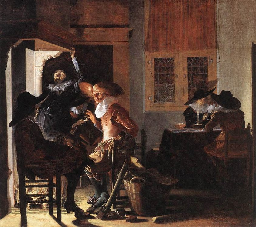 Soldiers beside a Fireplace :: Willem Cornelisz Duyster - Interiors in art and painting фото