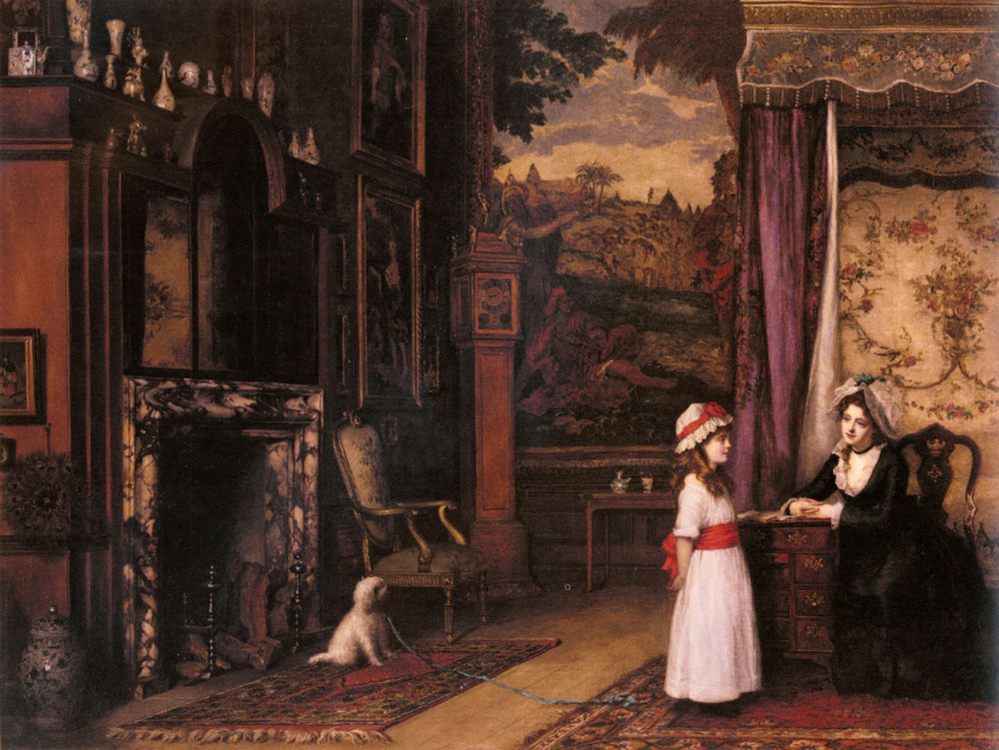 The Morning Lesson :: William Maw Egley - Interiors in art and painting фото