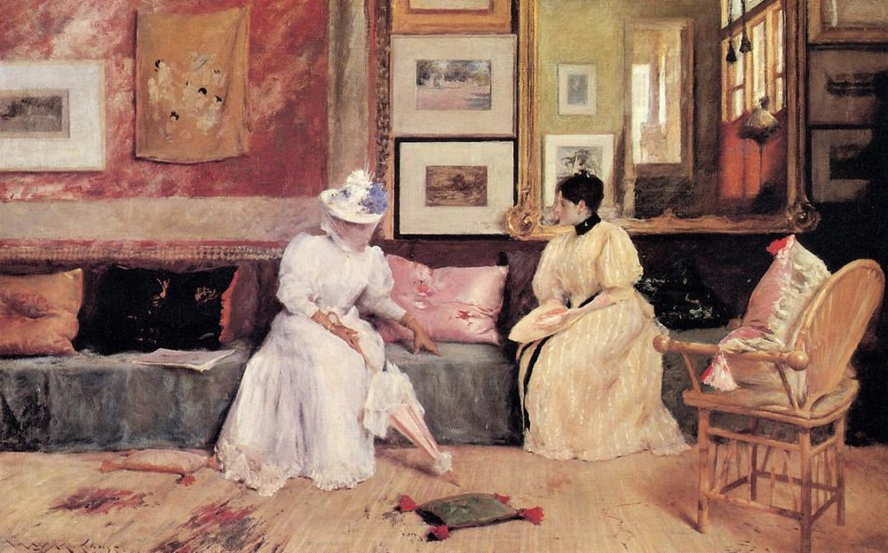 A Friendly Call ::  William Merritt Chase              - Interiors in art and painting фото