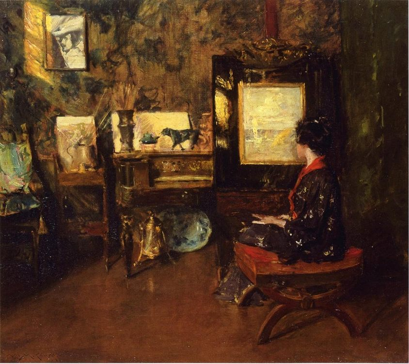 Alice in the Shinnecock Studio :: William Merritt Chase - Interiors in art and painting фото