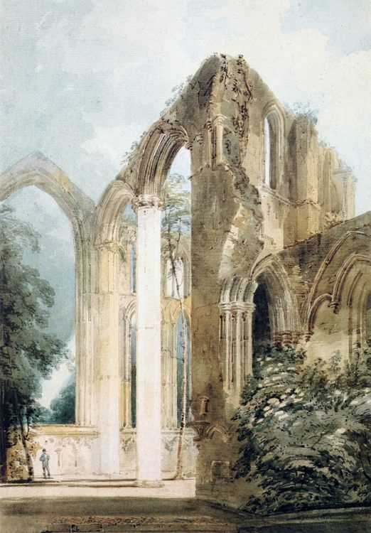 Interior of Fountains Abbey- the East Window :: Thomas Girtin - Ruins фото