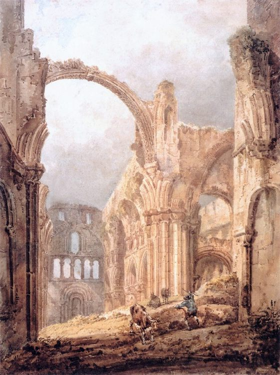 Interior of Lindisfarne Priory :: Thomas Girtin  - Ruins фото
