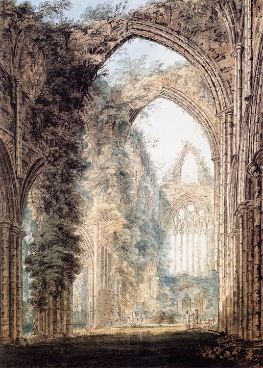Interior of Tintern Abbey looking toward the West Window :: Thomas Girtin - Ruins фото