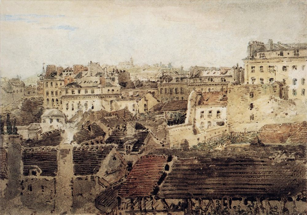 View of Roofs looking toward Montmartre :: Thomas Girtin - Architecture ôîòî