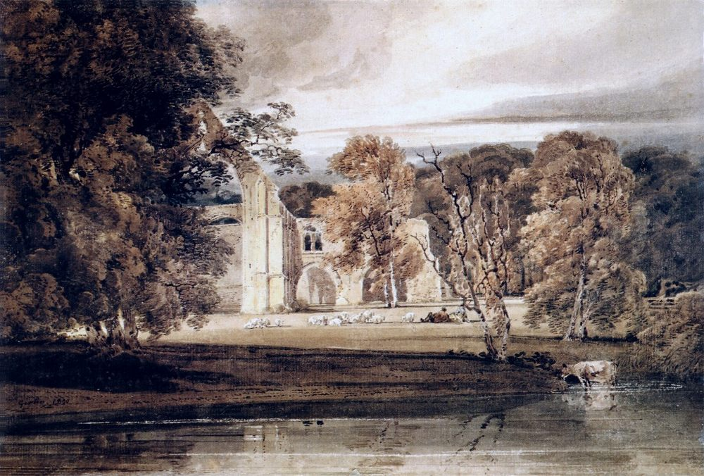 The East End of Bolton Abbey, from across the River Wharfe :: Thomas Girtin - Architecture фото
