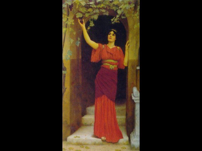 Young Girl Picking Grapes :: John William Godward - Antique world scenes ôîòî